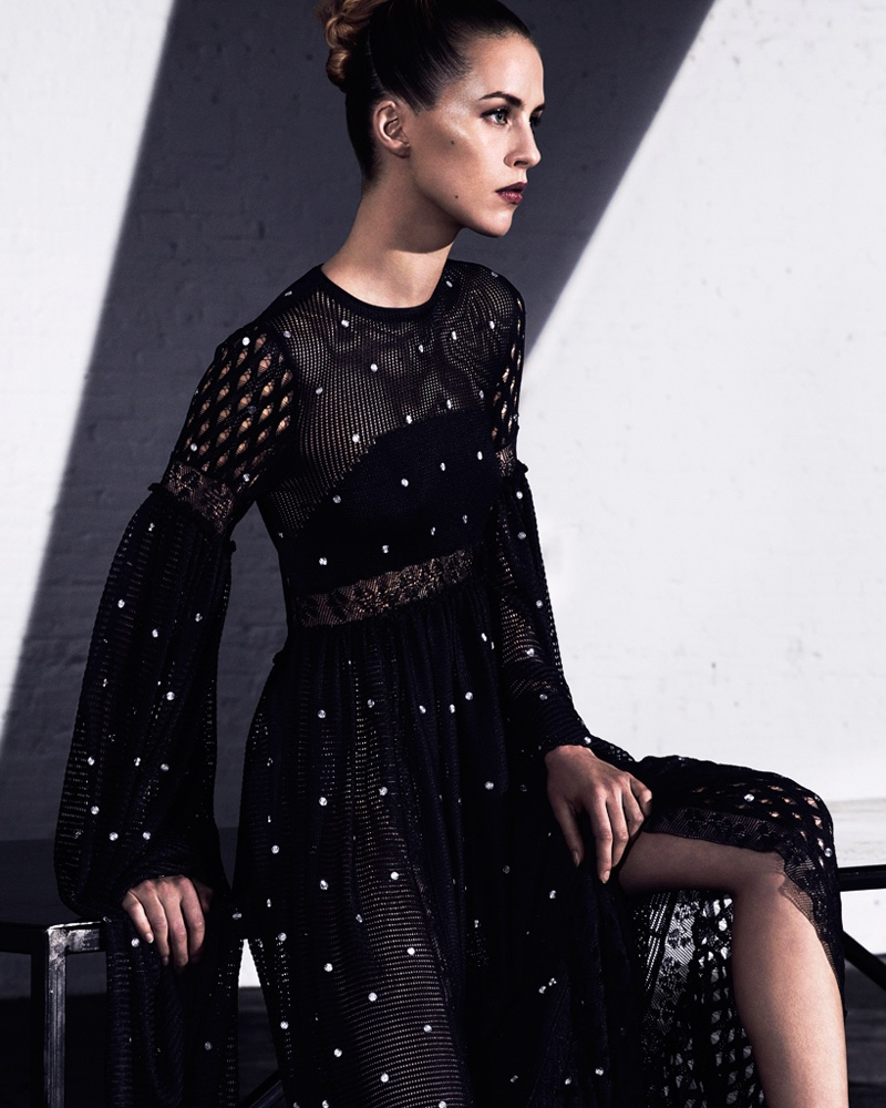 Julia Frauche poses in Sonia Rykel mesh and lace dress