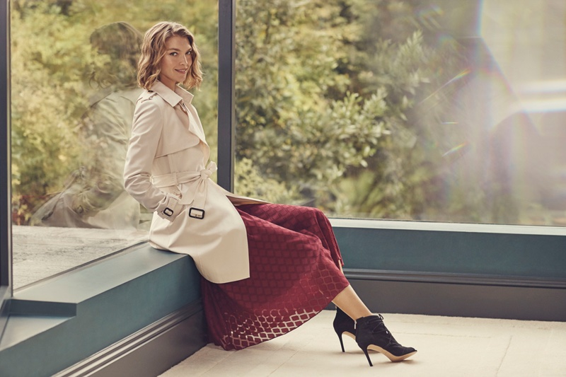 Karen Millen Ruffle Midi Dress, Side Button Trench Coat and Peep Toe Boots