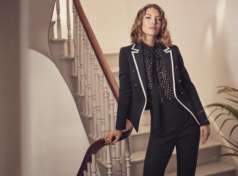 Karen Millen Contrast Trim Jacket, Stud-Detail Capri Trousers and Polka Dot Ruffle Blouse