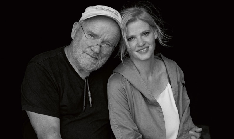 Photographer Peter Lindbergh and model Lara Stone behind-the-scenes at Marc O'Polo's spring-summer 2017 campaign