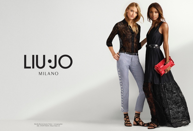 Models Martha Hunt and Jasmine Tookes pose in lace for Liu Jo's spring 2017 campaign