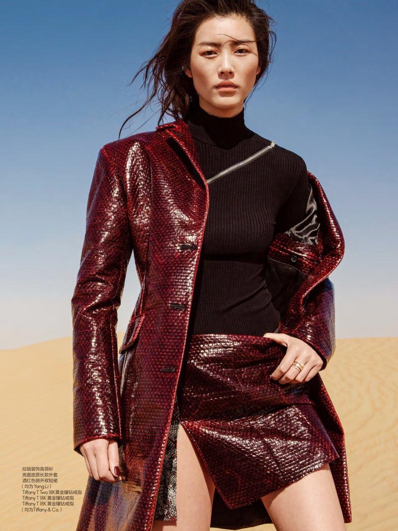 Liu Wen models Tang Li coat, turtleneck and miniskirt