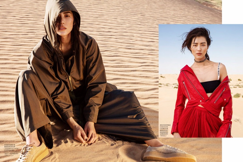 (Left) Liu Wen wears Stella McCartney top and pants with Fenty x Puma by Rihanna sneakers (Right) Model poses in complete Dior look