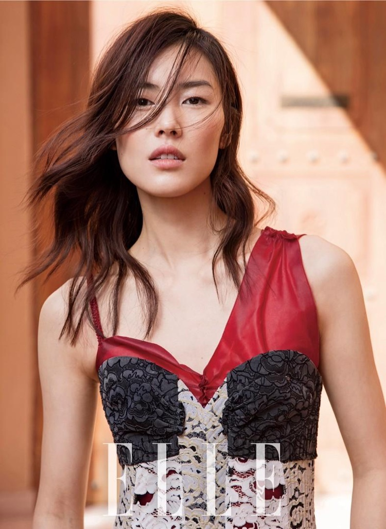 Liu Wen models Louis Vuitton dress