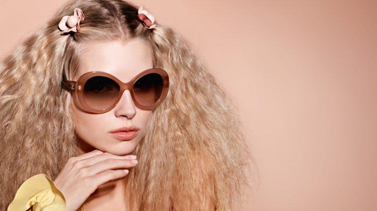 Lottie Moss wears teased hair in Chanel Eyewear's spring 2017 campaign