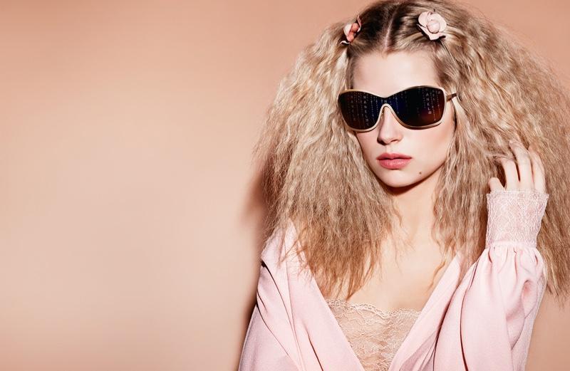 Lottie Moss models sleek sunglasses in Chanel Eyewear spring 2017 campaign