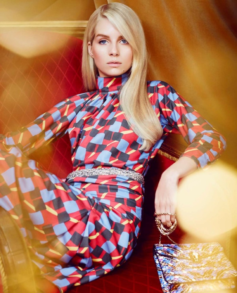 Lottie Moss embraces prints with Prada dress, Carven belt and Bulgari bag