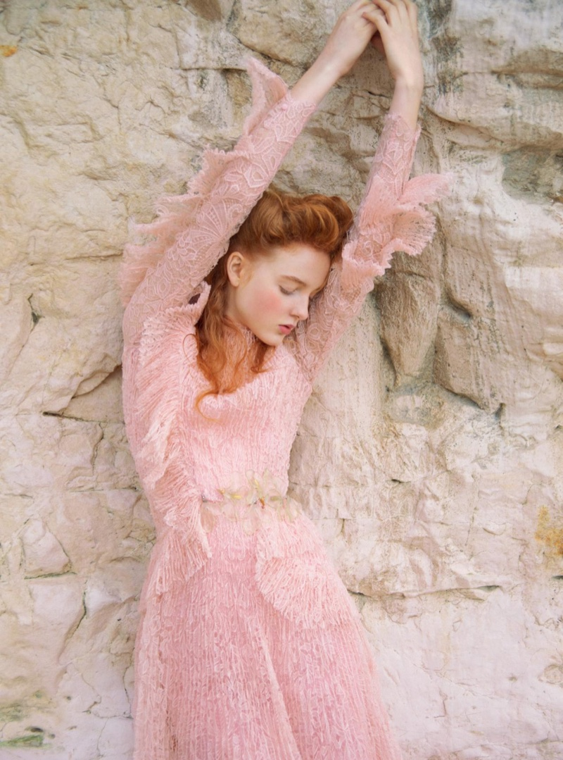 Madison Stubbington looks pretty in pink wearing Ermanno Scervino lace dress