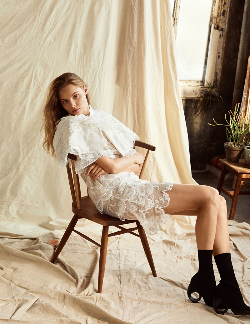 Magdalena Frackowiak wears looks from Burberry's spring collection in the fashion editorial