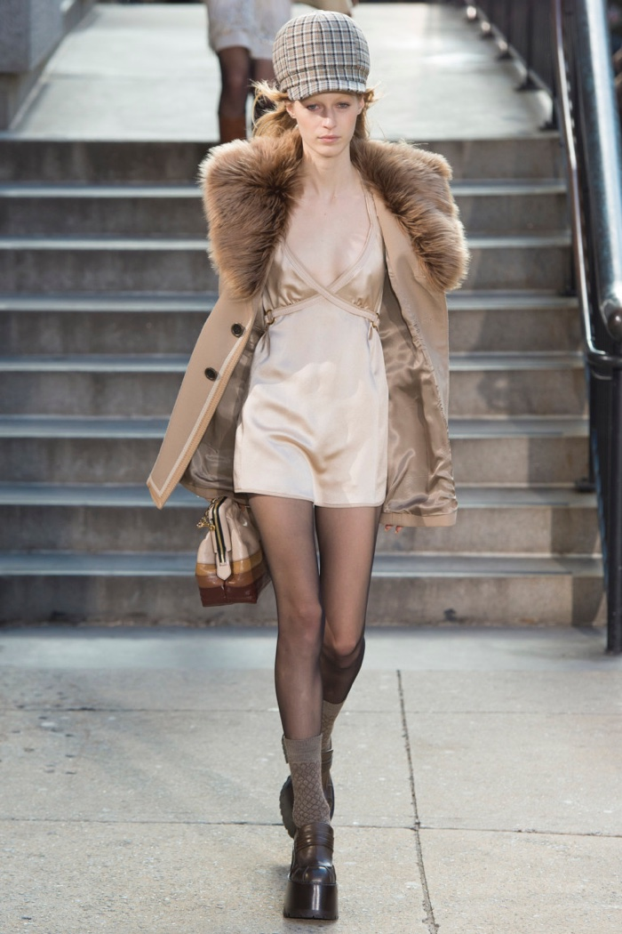 Fur trimmed jacket over mini slip dress from Marc Jacobs' fall-winter 2017 collection