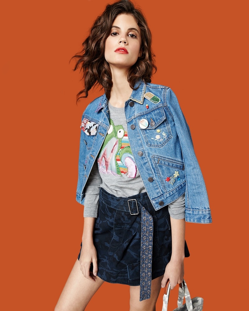 Marc Jacobs Shrunken Denim Jacket with Patches, Lightweight Merino Wool Frog Sweater and Belted Cargo-Pocket Mini Skirt