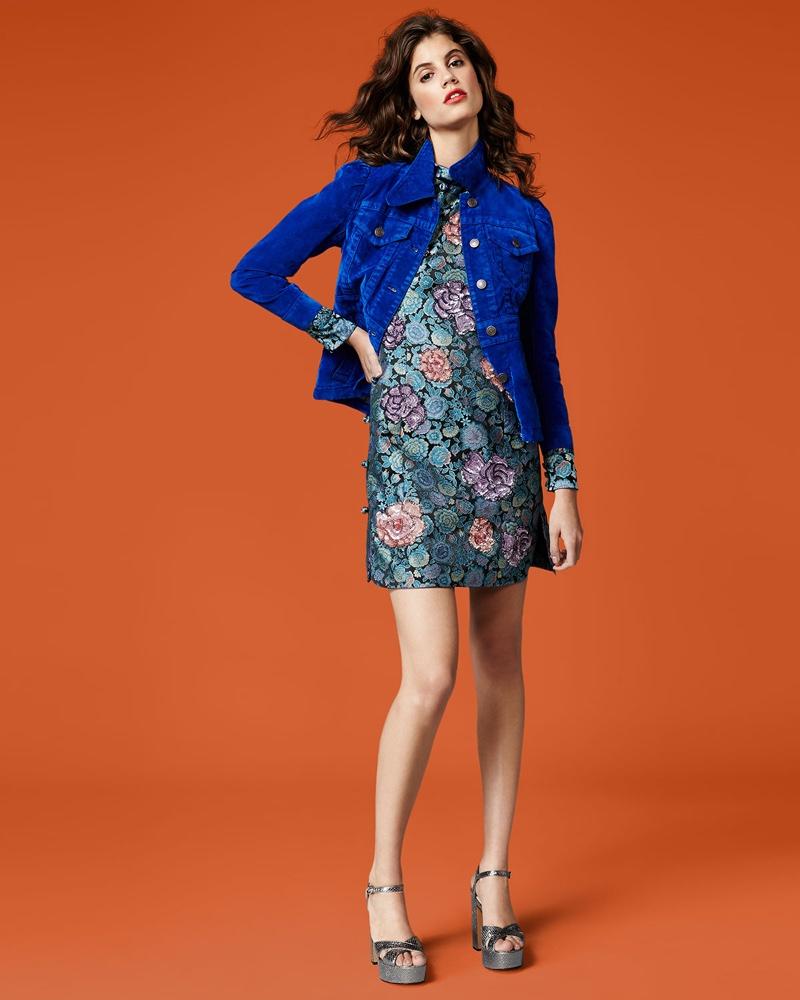 Marc Jacobs Brushed Denim Shrunken Coat and Rose Jacquard Long-Sleeve Mini Dress