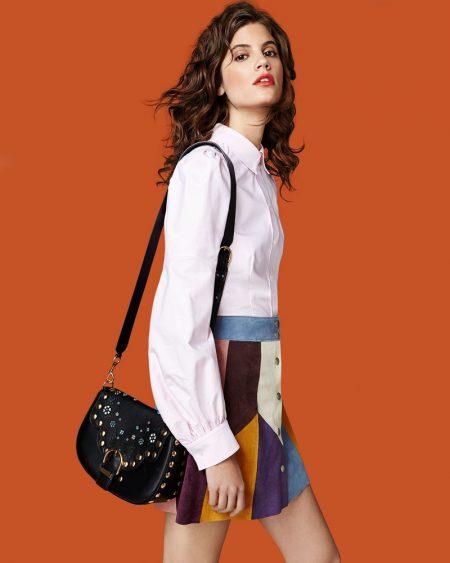 Marc Jacobs Bishop-Sleeve Cotton Blouse, Patchwork Suede A-Line Skirt and Navigator Floral Studded Flap Shoulder Bag