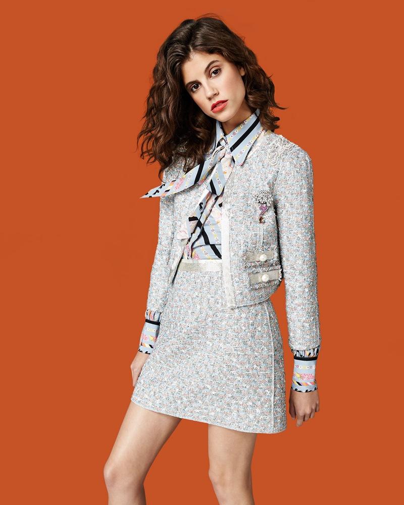 Marc Jacobs Embellished Tweed Jacket, Printed Tie-Neck Bishop-Sleeve Blouse and Beaded-Waist Tweed Skirt