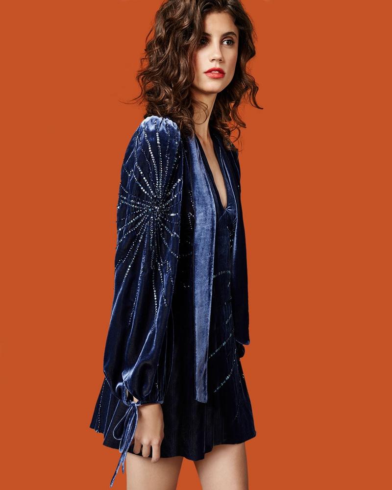 Marc Jacobs Sequined Velvet Bell-Sleeve Dress