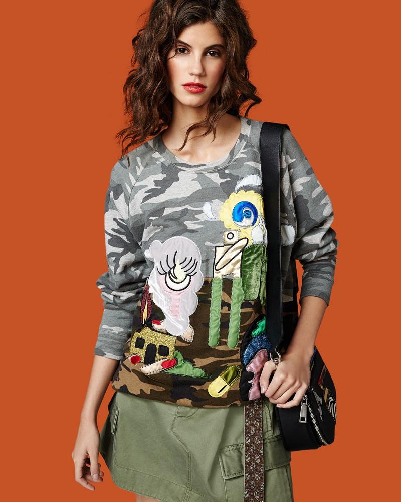 Marc Jacobs Julie Camouflage-Print Raglan Sweatshirt, Belted Cargo-Pocket Mini Skirt and Nomad Small Appliqué Saddle Bag