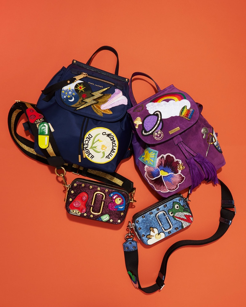 Marc Jacobs Patched Nylon Flap Backpack (Top Left), Patched Suede Tassel Backpack (Top Right), Snapshot Mushroom Leather Camera Bag (Bottom Left) and Snapshot Frog Camera Bag (Bottom Right)