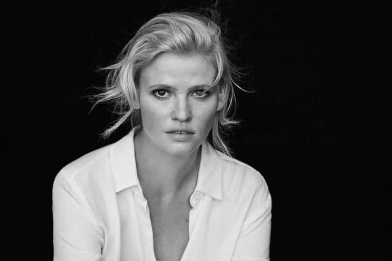 Getting her closeup, Lara Stone wears button-up shirt in Marc O'Polo spring 2017 campaign