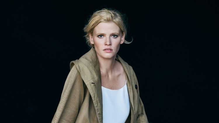 Lara Stone models utility jacket over slip dress in Marc O'Polo's spring 2017 advertising campaign