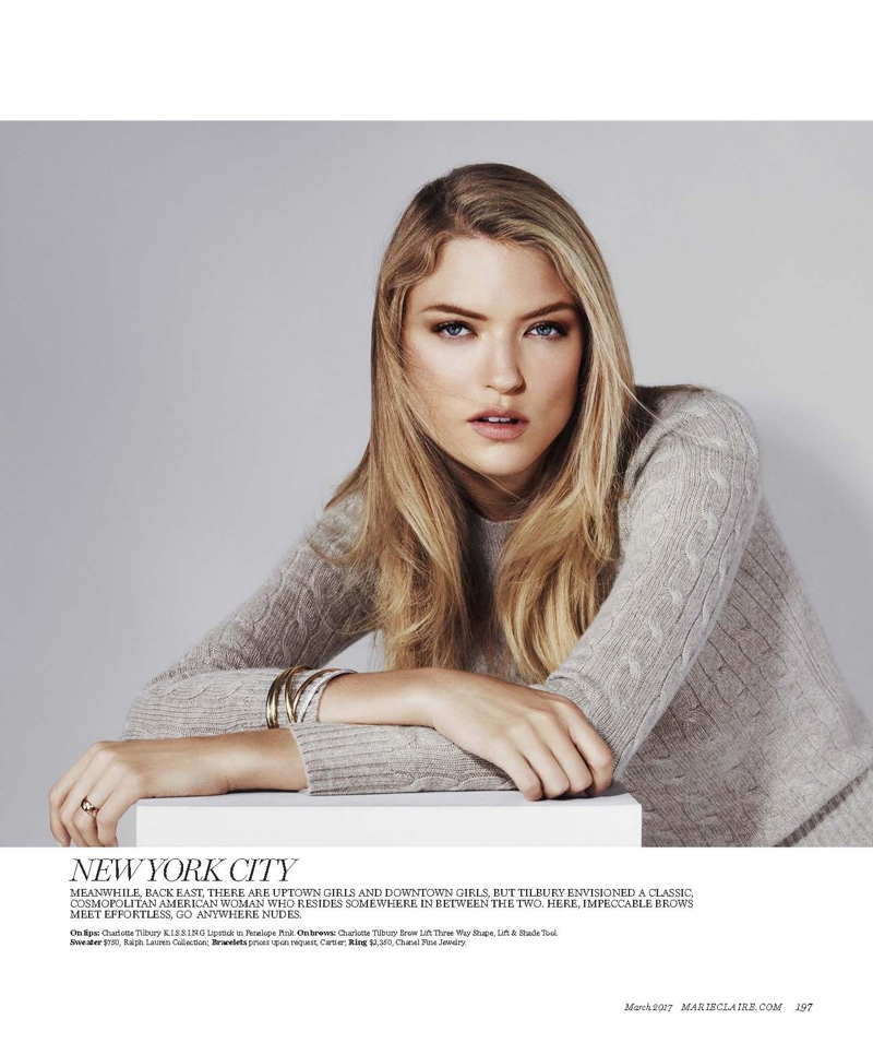 Martha Hunt models Ralph Lauren Collection sweater with Cartier bracelets and Chanel Fine Jewelry ring