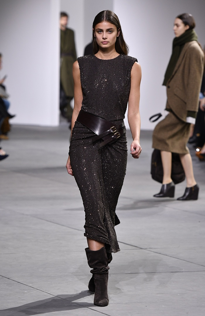 Taylor Hill wears sparkly dress from Michael Kors Collection fall-winter 2017