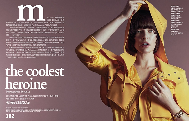 Photographed by An Le, Milla Jovovich wears yellow Versus Versace coat