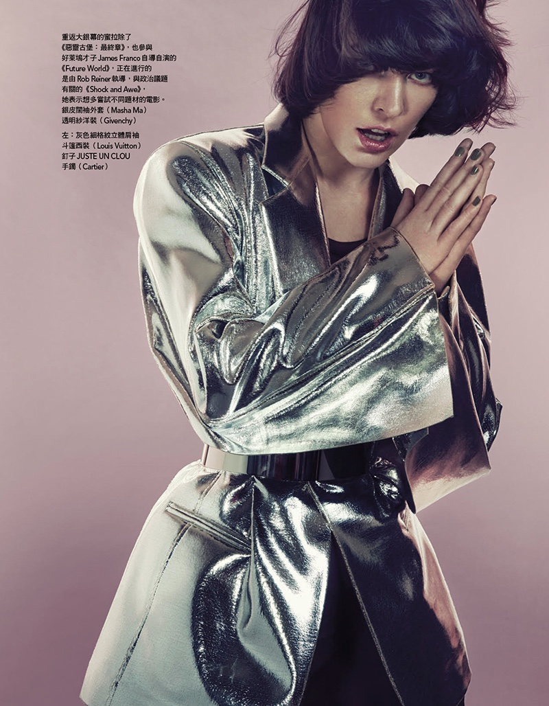 Turning up the shine factor, Milla Jovovich wears Masha Ma metallic coat