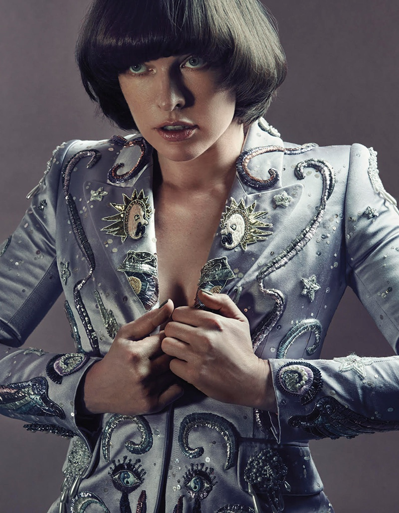 Covering up, Milla Jovovich wears Marc Jacobs embellished jacket