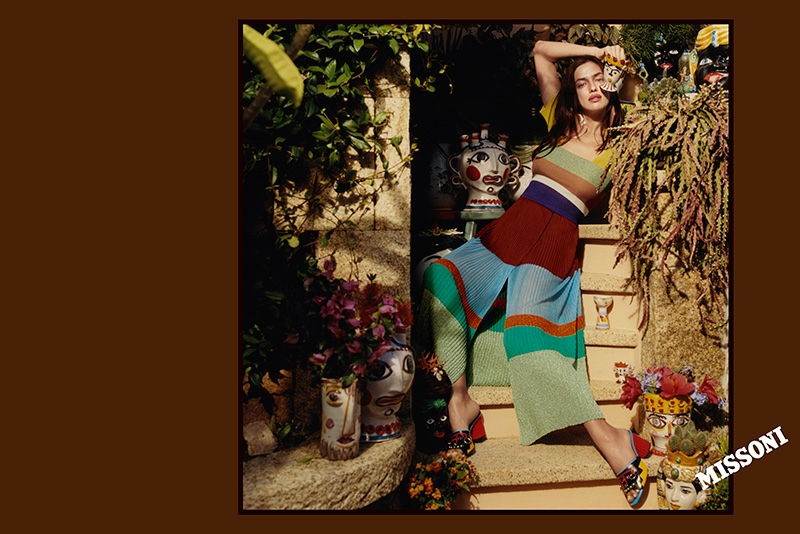 Irina Shayk poses in the Mediterranean for Missoni's spring 2017 campaign