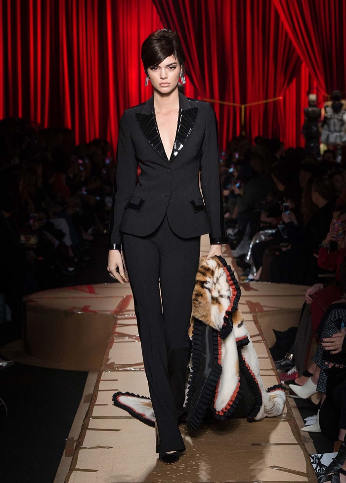 Kendall Jenner wears black pantsuit from Moschino's fall-winter 2017 collection