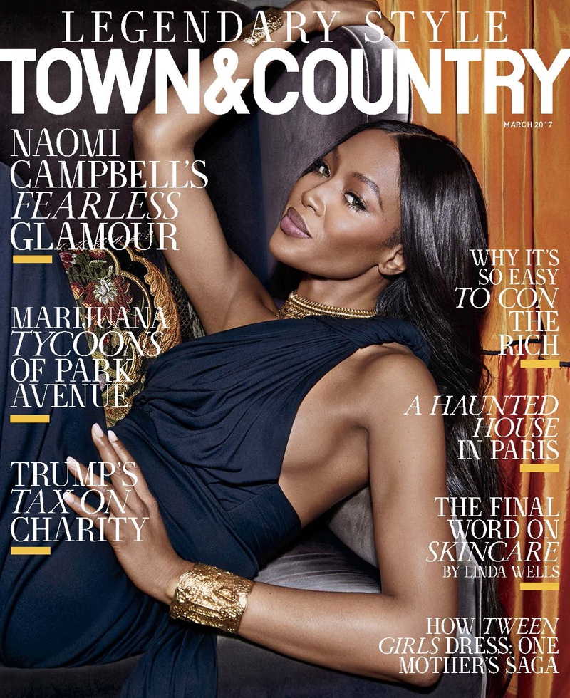 Naomi Campbell on Town & Country Magazine March 2017 Cover