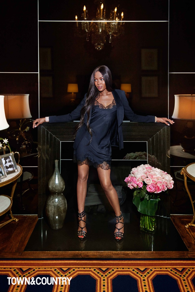 Naomi Campbell wears Ralph Lauren Collection jacket, Carine Gilson slip dress and Azzedina Alaia heels