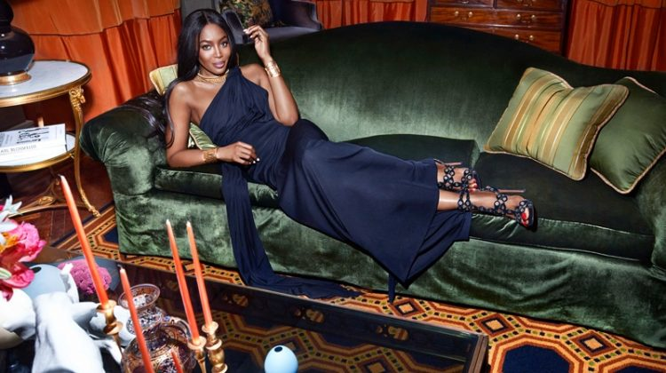 Supermodel Naomi Campbell lounges in Carolina Herrera gown with Azzedine Alaia heels