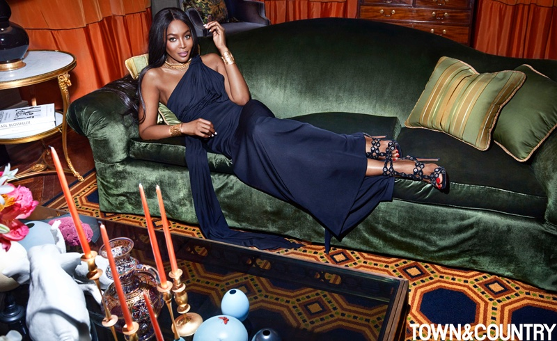 Naomi Campbell Stuns in Elegant Gowns for Town & Country Magazine