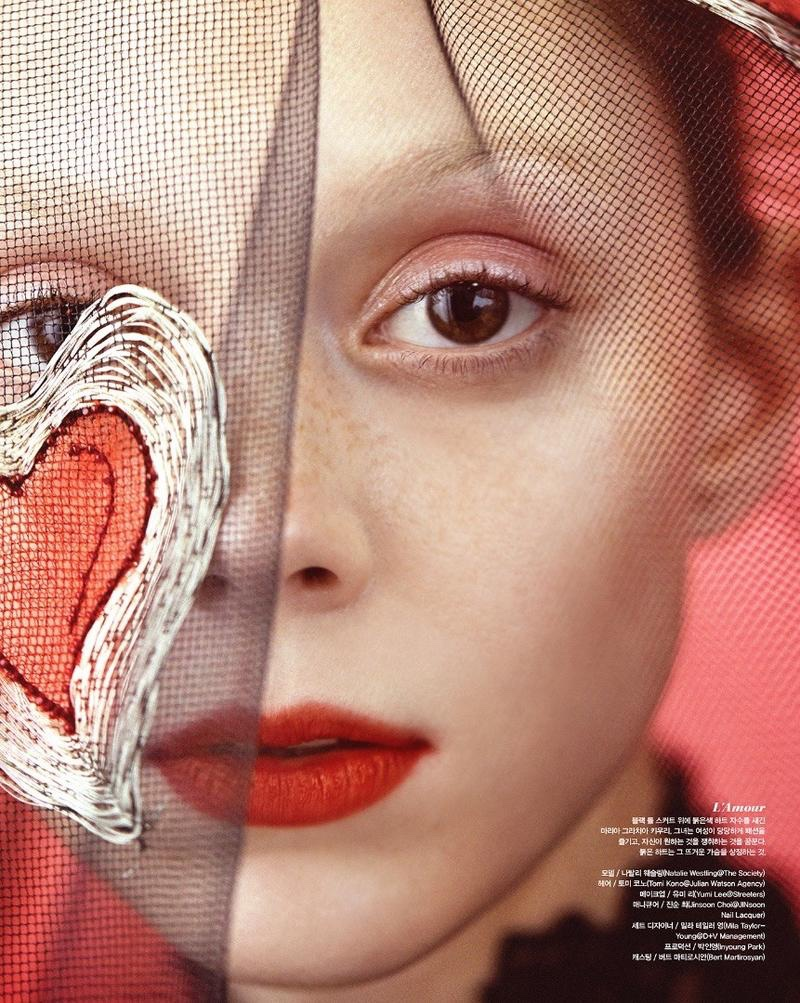 Wearing red lipstick, Natalie Westling poses for Vogue Korea