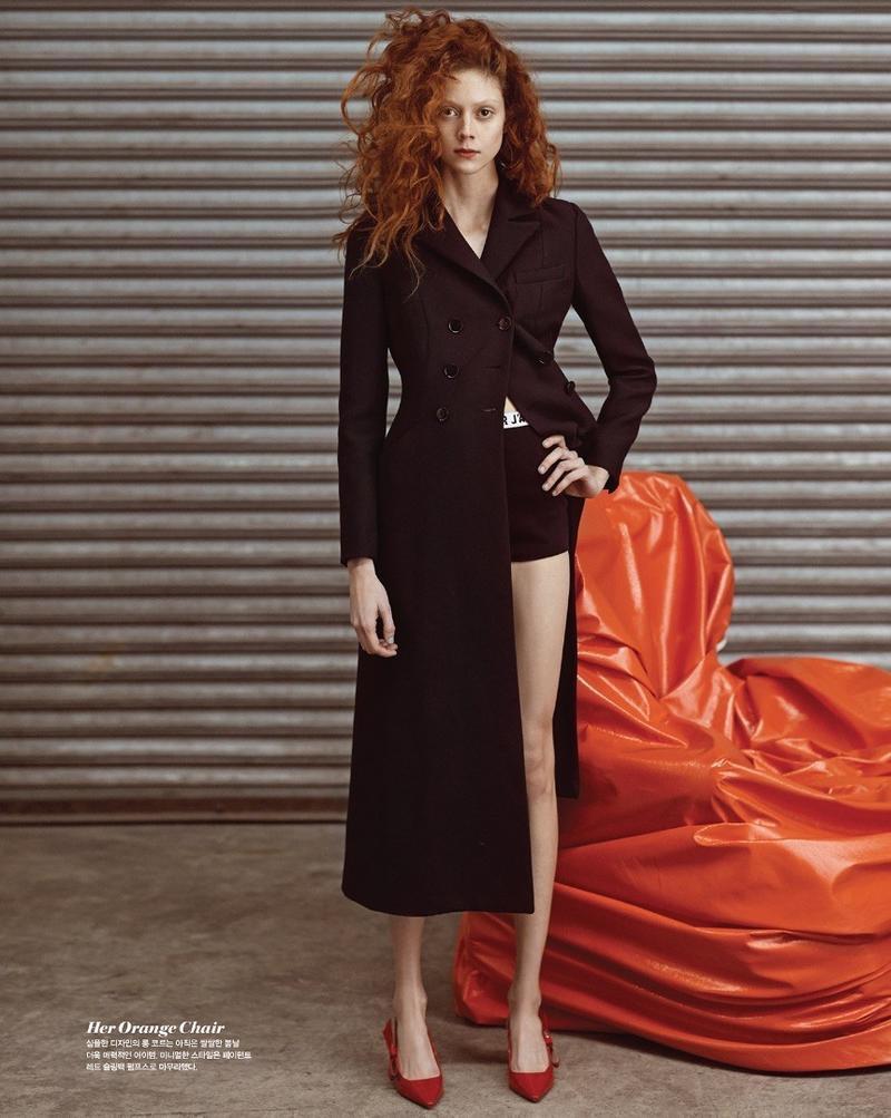 Natalie Westling wears Dior coat and briefs