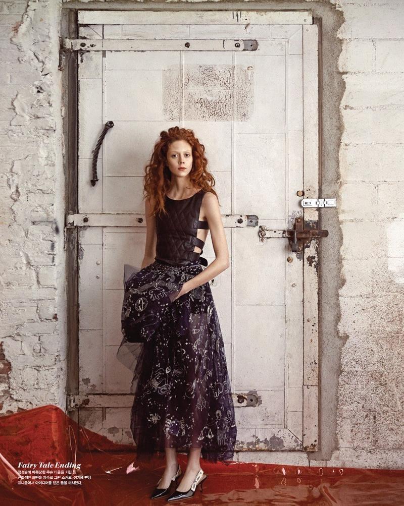 Natalie Westling models quilted top, embellished skirt and heels from Dior