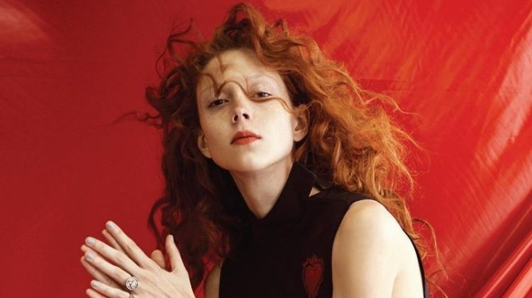Natalie Westling models Dior top and heart-embellished skirt