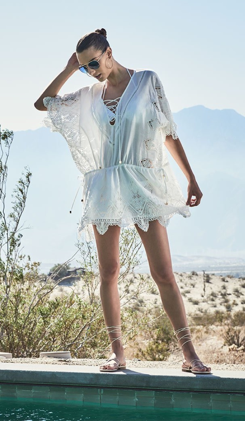 Suboo Prairie Broderie Anglaise Lace Caftan Coverup