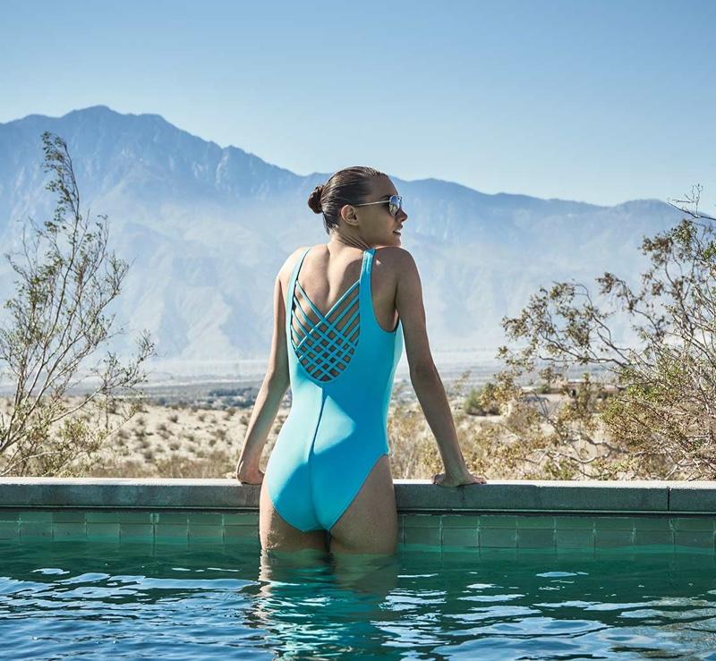 Letarte Lattice-Back One-Piece Swimsuit in Turquoise Ocean
