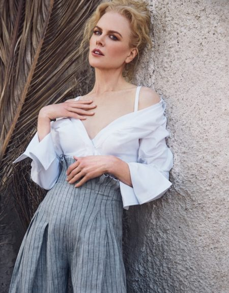 Actress Nicole Kidman wears Jacquemus shirt and pants