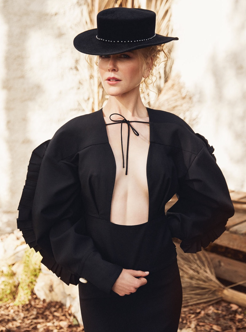 Nicole Kidman wears Jacquemus top, Ellery skirt and Eugenia Kim hat