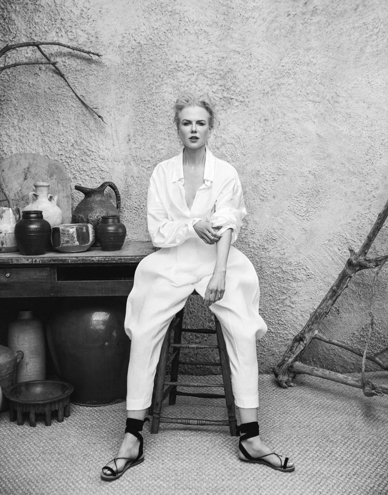 Photographed in black and white, Nicole Kidman wears Jil Sander shirt, Delpozo pants and Valentino sandals