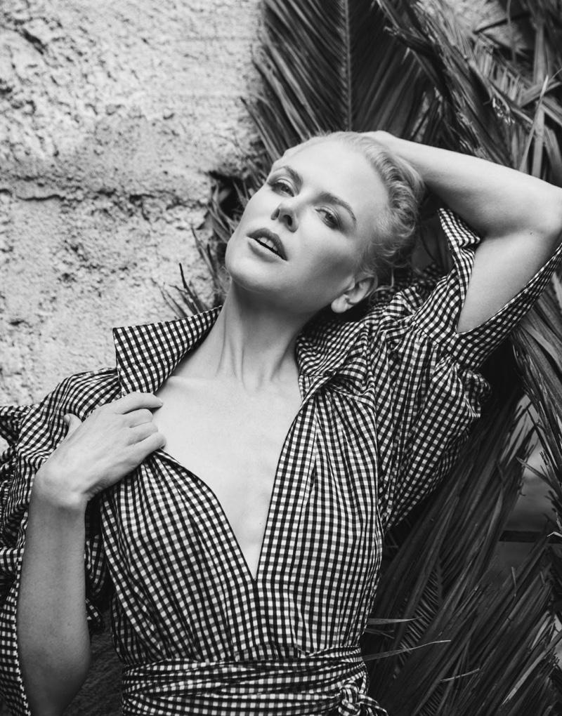 Nicole Kidman poses in gingham print Ellery shirt