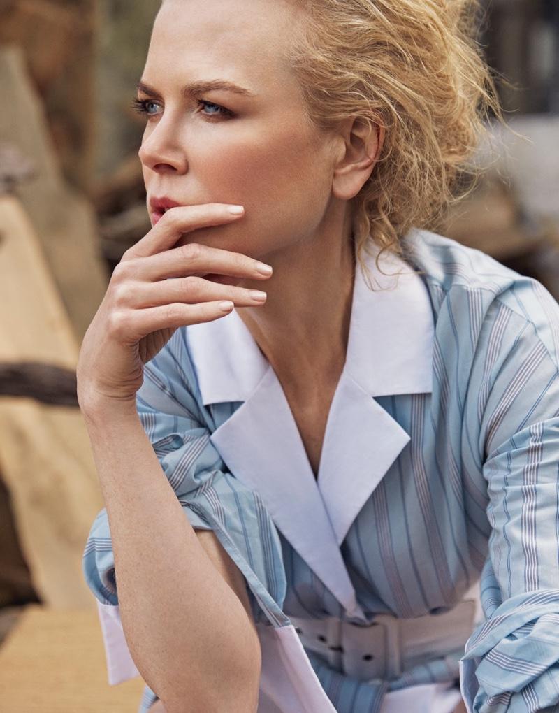 Getting her closeup, Nicole Kidman wears Rosie Assoulin dress and belt