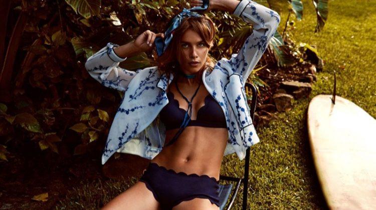 Olivia Aarnio models Marysia bikini top and bottoms with Sandro heels