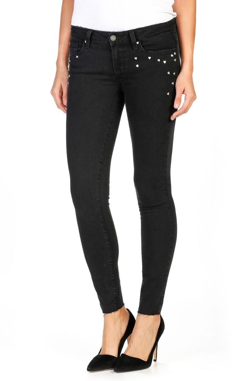 PAIGE Verdugo Embellished Ankle Ultra Skinny Jeans (Noir Studded Heart)