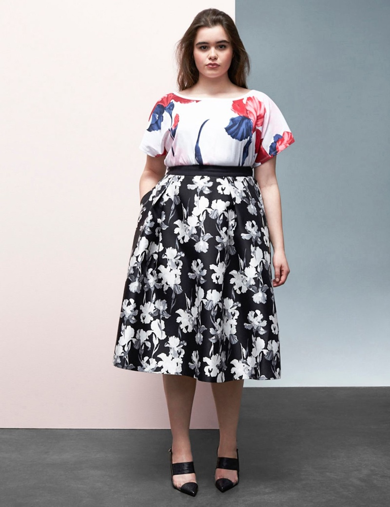 Prabal Gurung x Lane Bryant Black & White Floral Circle Skirt