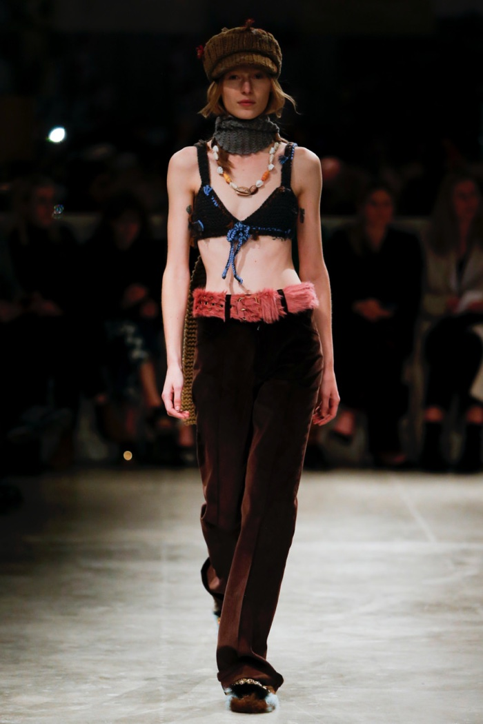 Bralette and corduroy pants from Prada's fall-winter 2017 collection
