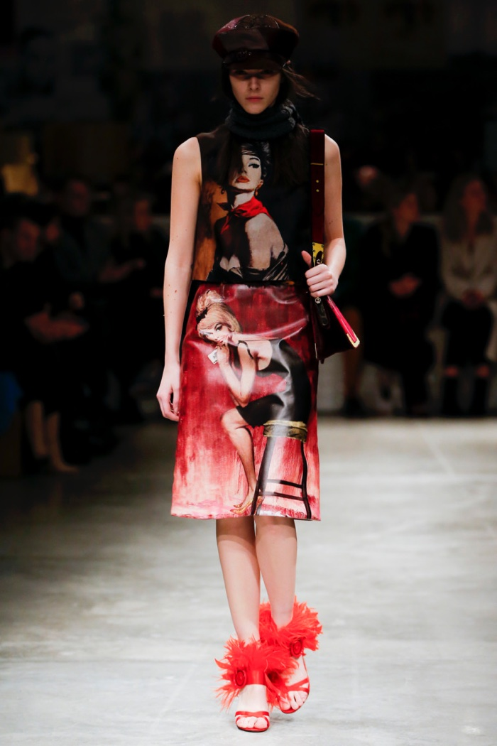 Printed top and skirt with feather embellished sandals from Prada's fall-winter 2017 collection